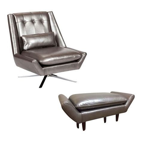 Modern Chair And Ottoman Set by Image Of Elite Leather Mid Century Modern Chair And