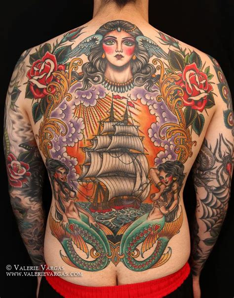 full back piece by valerie vargas traditional style