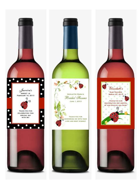 personalized ladybug wine bottle labels favors by shadow090109