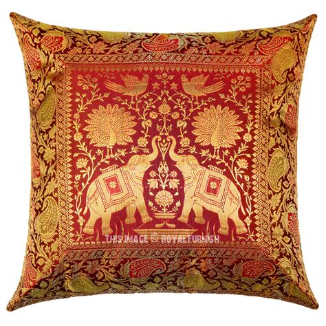 Maroon Decorative Pillows by Maroon Peacock Elephants Featuring Silk Throw Pillow