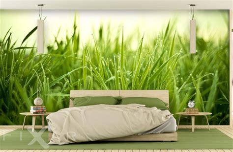 Retro Wall Murals na zielonej trawce do sypialni fototapety fixar pl