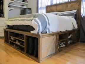 Bed Frame With Shoe Storage Diy Pallet Bed With Storage And Headboard 101 Pallets