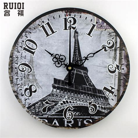 fashion meeting room wall decor clocks absolutely silent wholesale paris eiffel tower home decoration wall clocks
