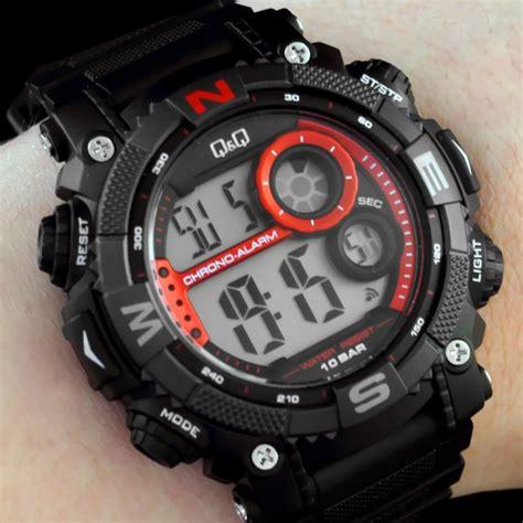 Jam Tangan Q Q Merah jual jam tangan digital sporty qnq m133j001y hitam merah