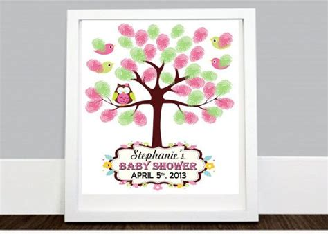 baby shower momentos digital owl guestbook thumbprint print yourself baby