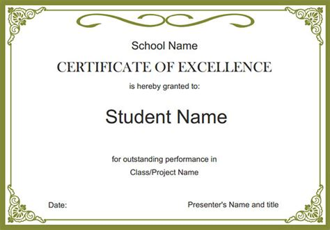 templates for school award certificates 4 award pdf certificates certificate templates