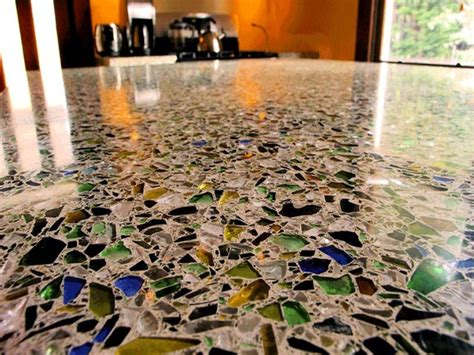 Concrete With Glass Countertop by Counter Tops And Flooring Made Of Sea Glass In Concrete