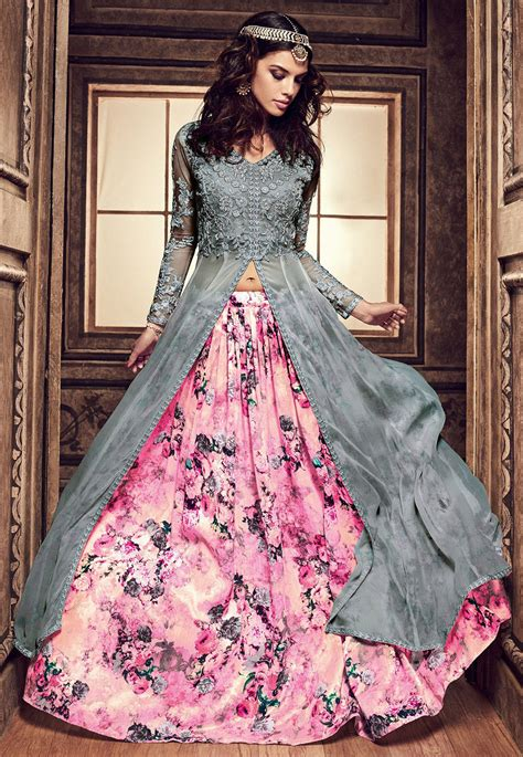 Dress Bombay Bestseller embroidered georgette jacket style lehenga in grey and