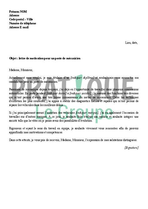 lettre de motivation pour un emploi de m 233 canicien pratique fr