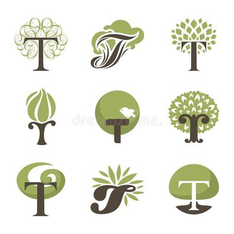 Tree Design Elements Vector Logo Templates Set Stock Vector Illustration Of Bush Growth Tree Collection Of Design Elements Stock Vector Illustration Of Icon Botany 32428346