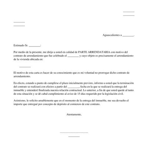 modelo carta terminacion contrato periodo prueba carta del arrendatario para terminaci 243 n de contrato de