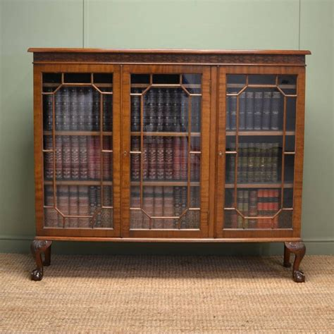 edwardian walnut chippendale design antique bookcase