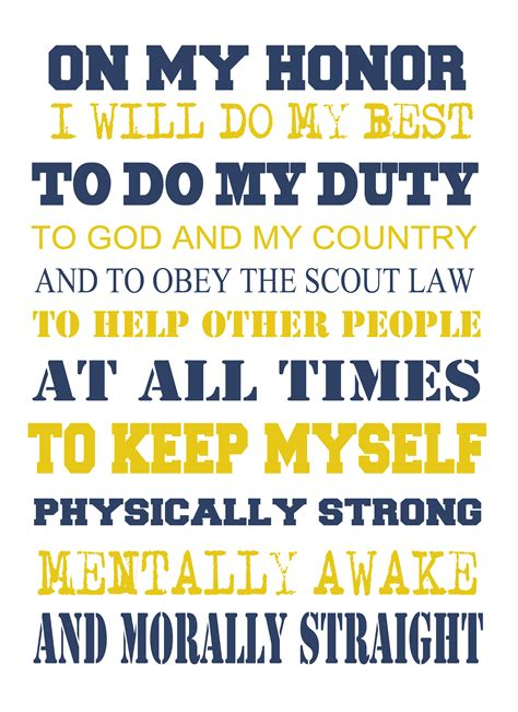 Scout Pledge Scout Oath To Print For Cub Scouts As They Learn The Oath