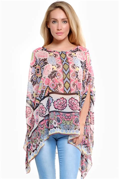 Now Printed Twistcone Top printed kaftan top in pink flower iclothing