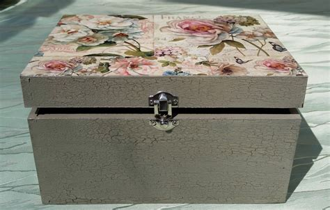 Decoupage Boxes - diy project shabby chic decoupage storage box
