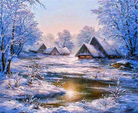 imagenes de otoño invierno paisajes im 225 genes arte pinturas paisajes con casas de madera