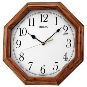 wooden wall clock seiko qxa529b octagonal wooden wall clock arabic dial