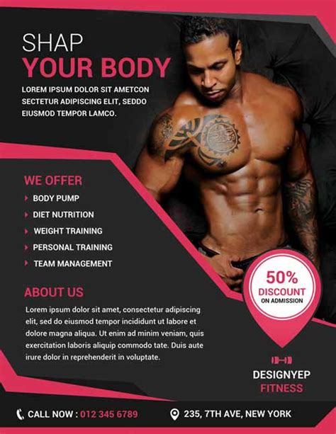 templates bodybuilder for photoshop download free fitness and gym flyer psd template http