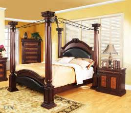 Bed Frames With Posts New Prado Formal Traditional Cherry Finish Wood Four Post King Canopy Bed Ebay