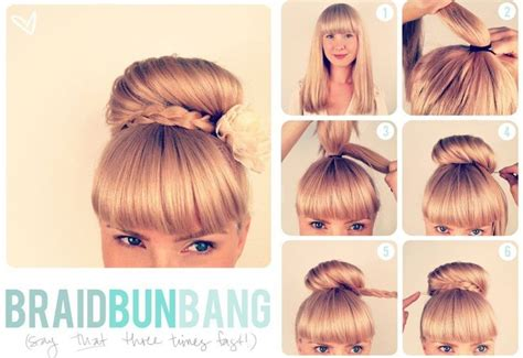 buns with braiding hair and bang try this quick braid bun bang learn more hairstyles