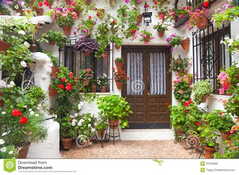 flowers decoration in home flowers decoration of vintage courtyard spain europe