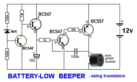 transistor driver circuit for buzzer battery low beeper