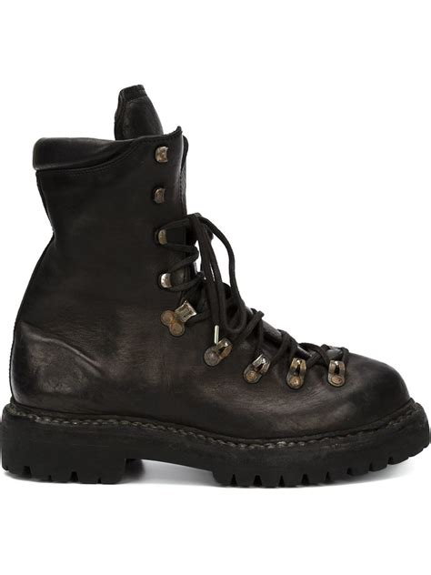 black hiking boots for lyst guidi lace up leather hiking boots in black