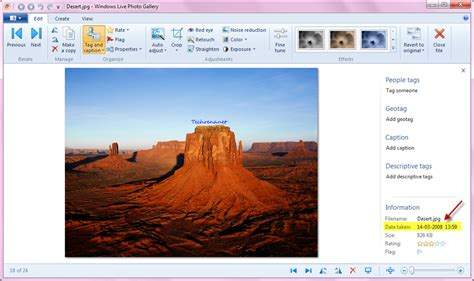 windows 10 photo gallery tutorial how change the date and time a picture was taken in