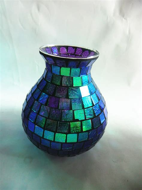 Pretty Glass Vases Teal Glass Mosaic Tile Handcrafted Home Interior Pretty