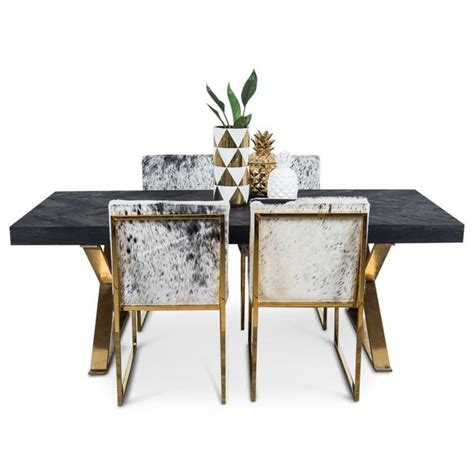 bordeaux dining table with brass x legs modshop