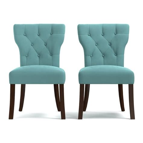 Turquoise Dining Chair Portfolio Sirena Turquoise Blue Velvet Upholstered Armless Dining Chairs Set Of 2 Free