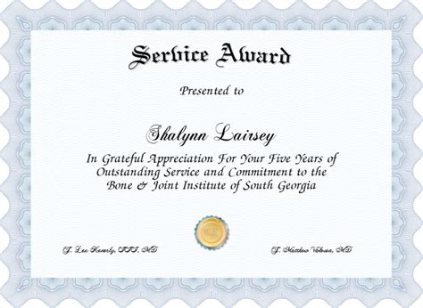 years of service award certificate templates best