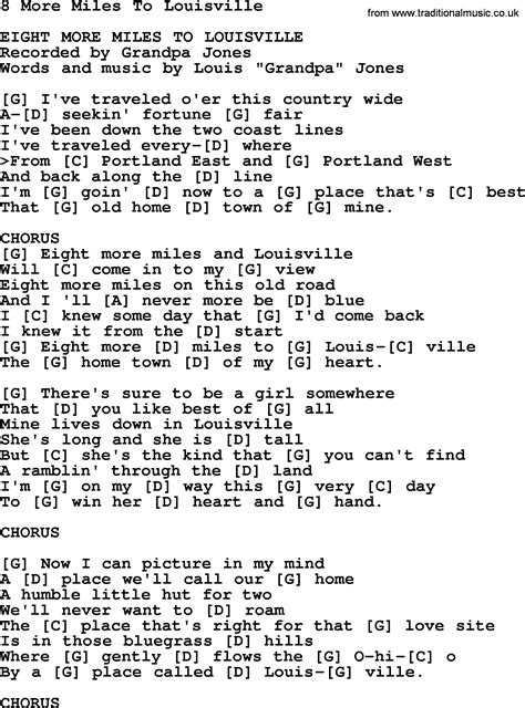 More From 8 by 8 More To Louisville Bluegrass Lyrics With Chords