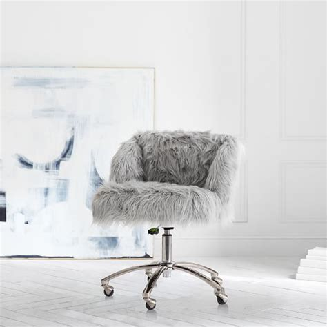 fur wingback desk chair gray himalayan wingback desk chair pbteen
