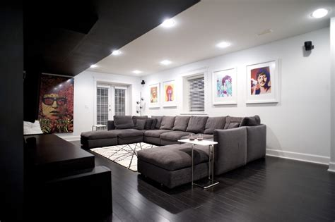 u shaped sectional sofa Home Theater Modern with media room theatre room beeyoutifullife.com