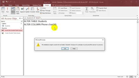 sql with microsoft access 2016 lesson 3 alter table