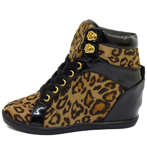leopard print lace up wedge trainer ankle boots