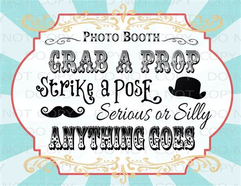 printable photo booth prop signs printable diy vintage circus photo booth prop sign 8 5