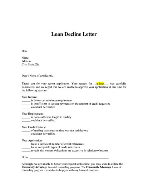 Credit Loan Letter 10 Best Images About Decline Letters On Other Letter Templates And