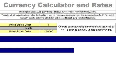 calculator rate daily fx rates excel