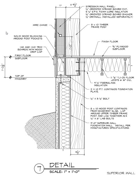 timber frame design details superior foundation wall and timber frame post detail