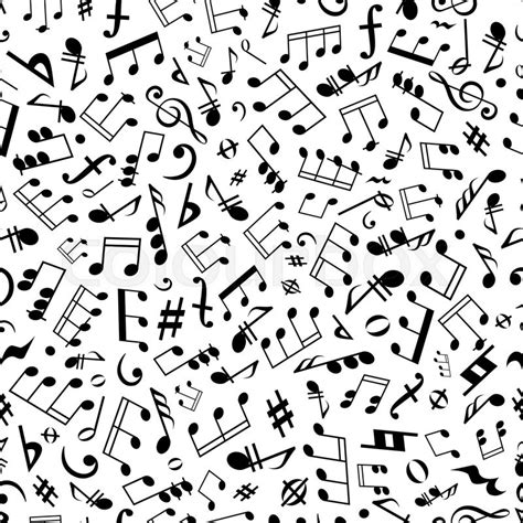 notes pattern background black and white seamless musical symbols and marks