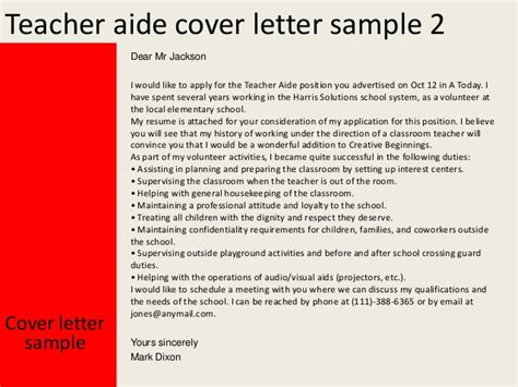 volunteer teaching assistant cover letter aide cover letter
