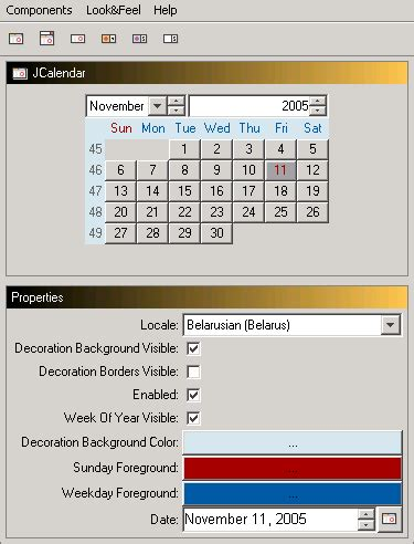 calendar in java swing swing date selector chooser with source code calendar