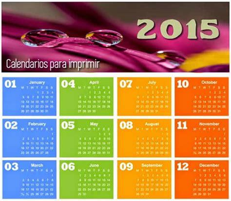 Calendarios Para Imprimir 2015 2015 Calendario Anual Para Imprimir