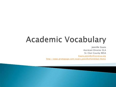 academic vocabulary in use academic vocabulary lesson plan