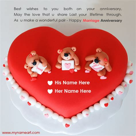 Happy Wedding Anniversary Card Editing by Write Husband Name On Cake Image For Anniversary Wishes