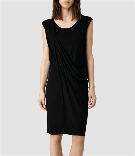 Amila Dress Black lyst allsaints amelia dress in black