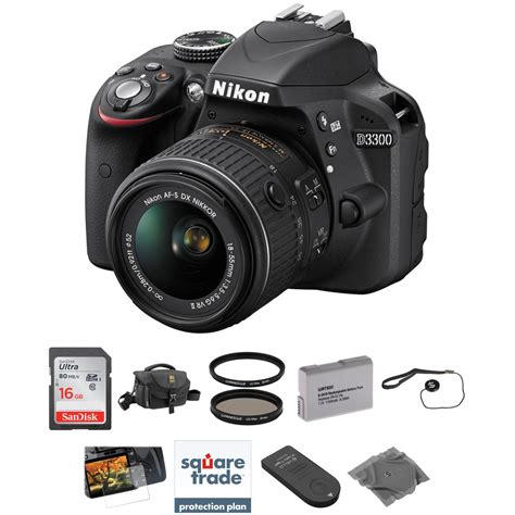 nikon d3300 nikon d3300 dslr kit with 18 55mm lens black b h