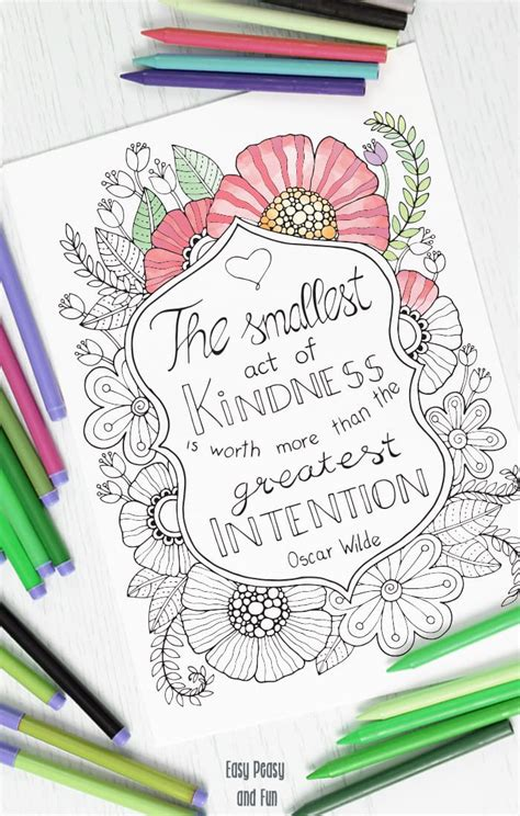 Coloring Page by Kindness Quote Coloring Page Easy Peasy And